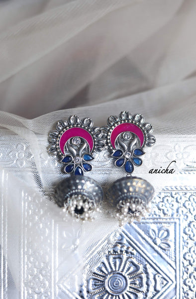 German silver enamel earrings (Colours available) - Anicha