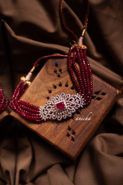 AD bead choker set - Ruby - Anicha
