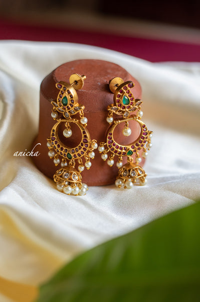 Ruby-green jhumka balis
