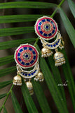 Round enamel triple jhumka earrings - Anicha