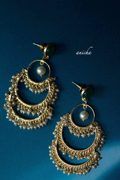 Layered pearl chandbalis (Colours available) - Anicha