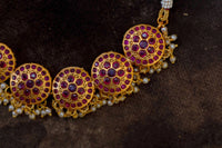 Round ruby cutwork necklace set - Anicha