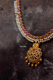 Ruby pearl Lakshmi necklace set - Anicha