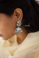 German silver leaf jhumkas green - Anicha