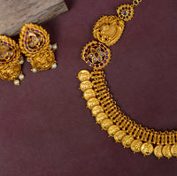 Matte gold coin necklace set - Anicha