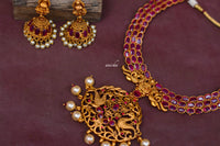 Ruby peacock necklace set - Anicha