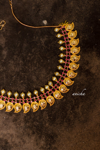 Gold paisley necklace set - Anicha
