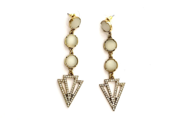 White opal arrow drop earrings - Anicha