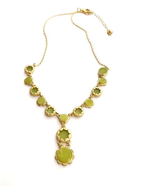 Olive green stone necklace - anicha