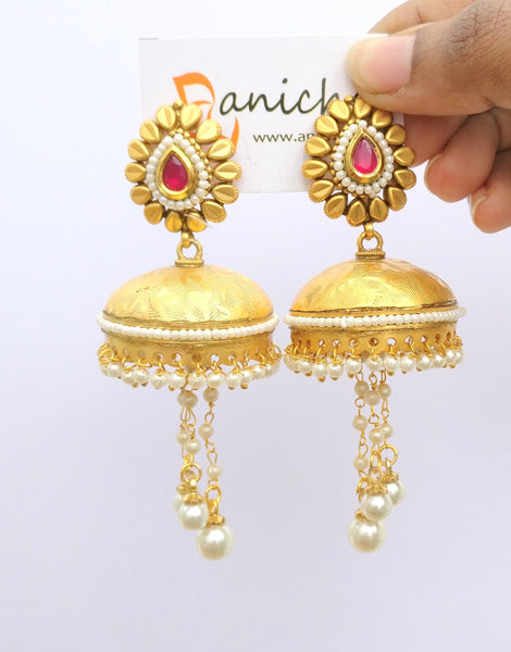 Pearl drop umbrella jhumkas (Blue available) - Anicha