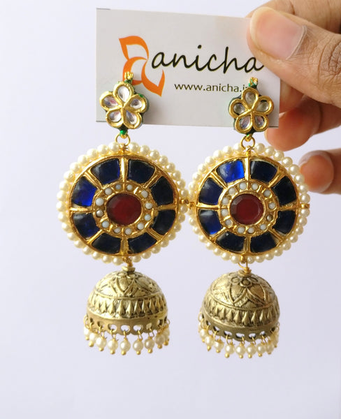 Royal blue stone jhumkas - Anicha
