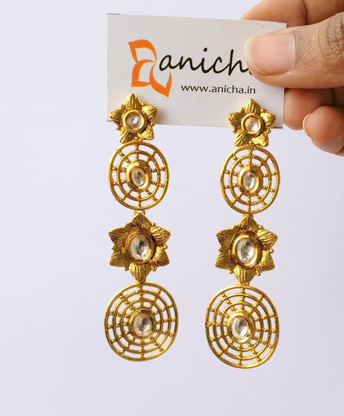 Long double flower earrings - Anicha