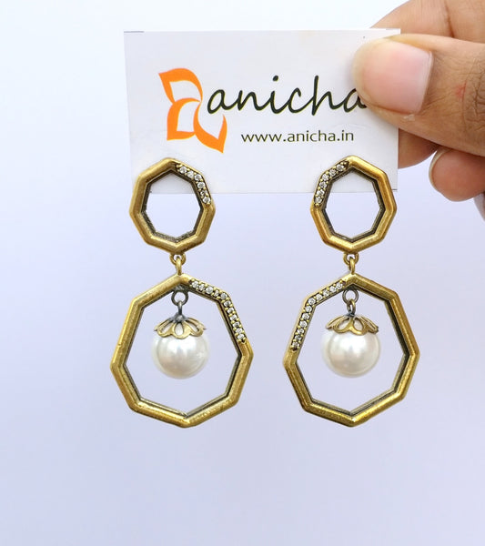 Antique gold plated double octagon earrings - anicha