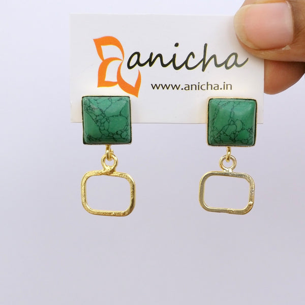 Gold plated square earrings (White available) - Anicha