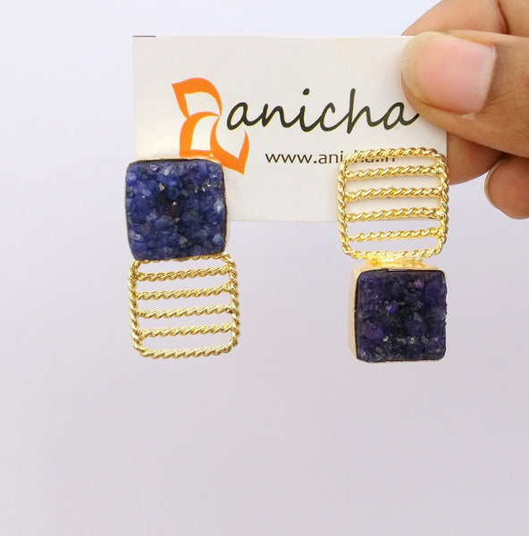 Square druzy gold plated up-down earrings - Anicha