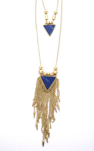 Blue stone triangle 2 layer chain - Anicha