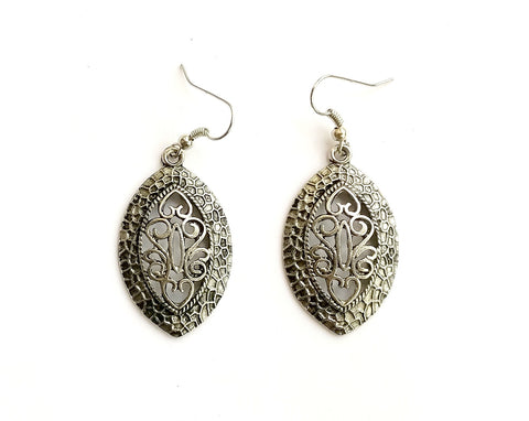 Antique silver carved drop earrings - anicha