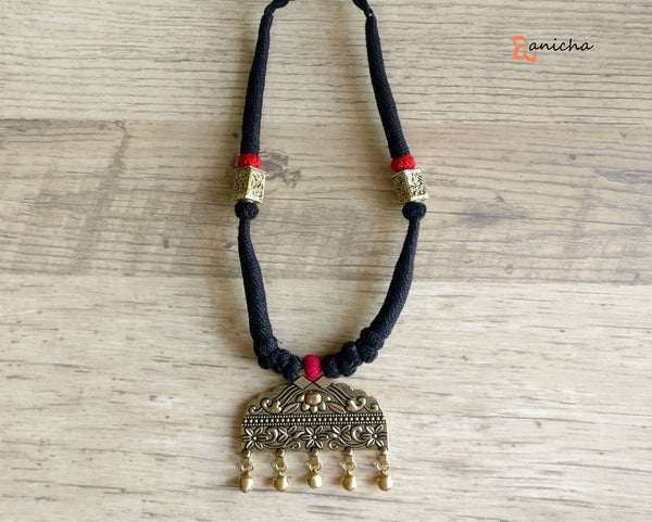 Antique gold black thread necklace - Anicha
