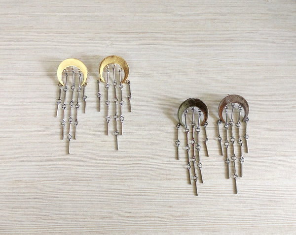 Metal tassel earrings - Anicha