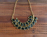 Antique gold leaf necklace (Colours available) - Anicha
