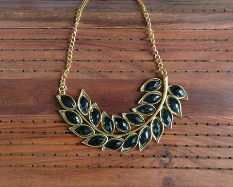 Antique gold leaf necklace