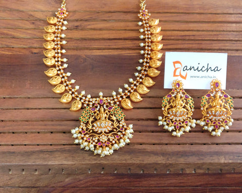 Gold lakshmi paisley necklace with earrings