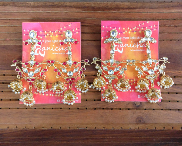 Stone jhumka earrings (Colours available) - Anicha