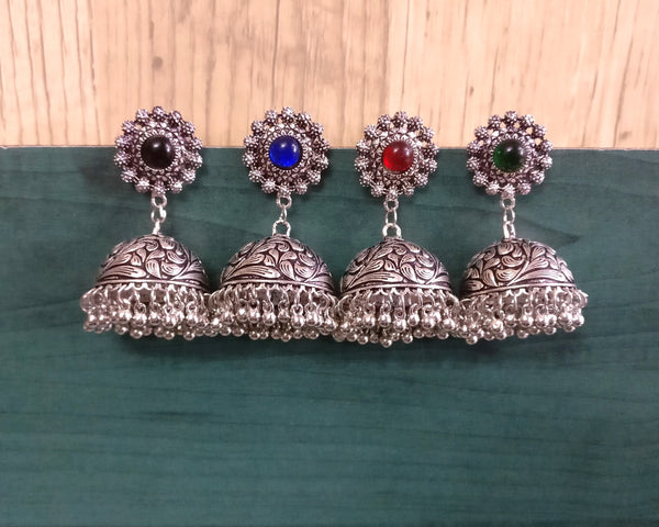 Oxidized silver chakra jhumkas (Blue available) - Anicha