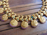 Matte Lakshmi coin necklace set - Anicha