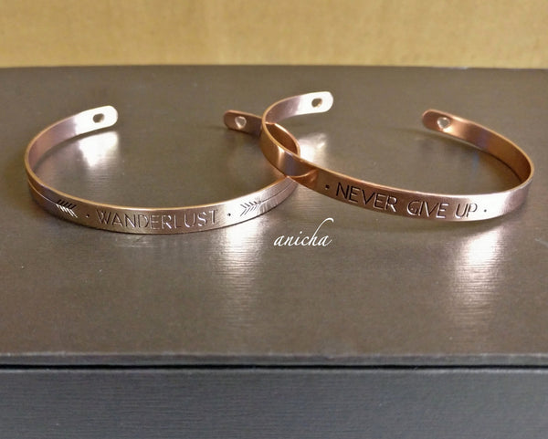 Rose gold word cuff bracelet - anicha