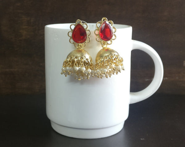Small gold jhumkas (Colours available) - anicha