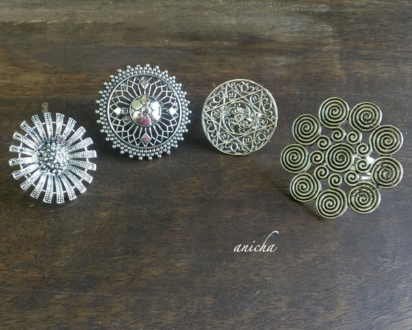 Oxidized silver statement rings