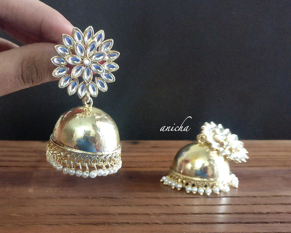 Big white stone flower jhumkas