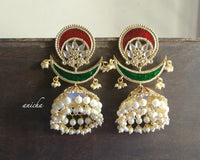 Big enamel statement jhumkas (Green available) - Anicha