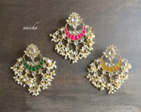 Kundan enamel pearl chandbalis (Red available) - Anicha