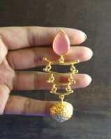 Gold step drop earrings - Anicha