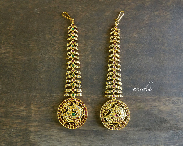 Antique gold peacock tikka - Anicha