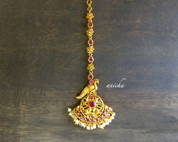 Gold peacock ruby tikka - Anicha