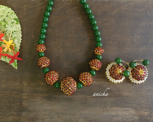 Green agate kemp balls necklace set - anicha