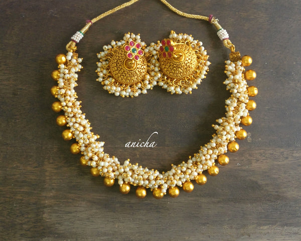 Matte pearl ghungru necklace set - anicha