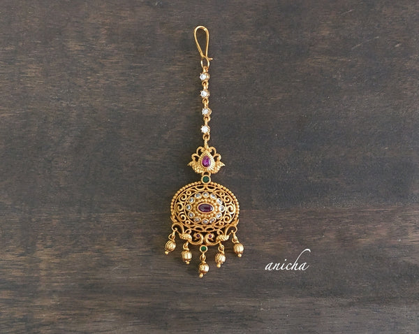 Multicolour stone oval gold tikka - Anicha