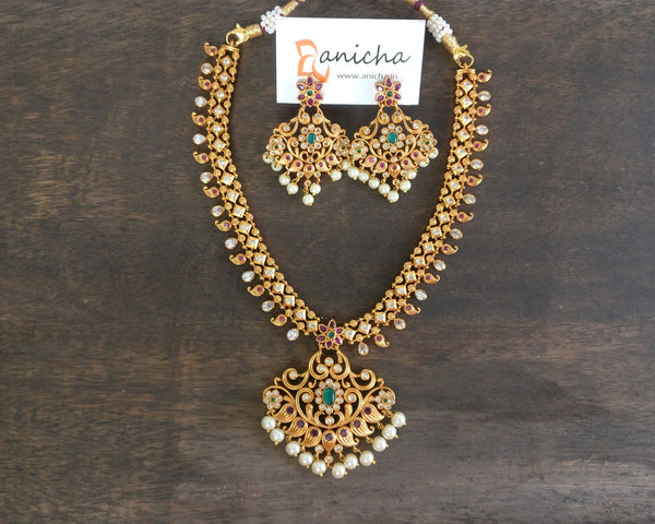 Multicolour paisley flower necklace set - anicha