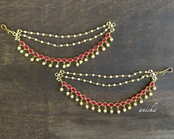 Three layer red stone ear chains - anicha