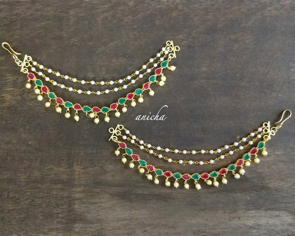 Three layer red-green stone ear chains - Anicha