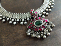 Silver ruby-green pendant necklace set - Anicha