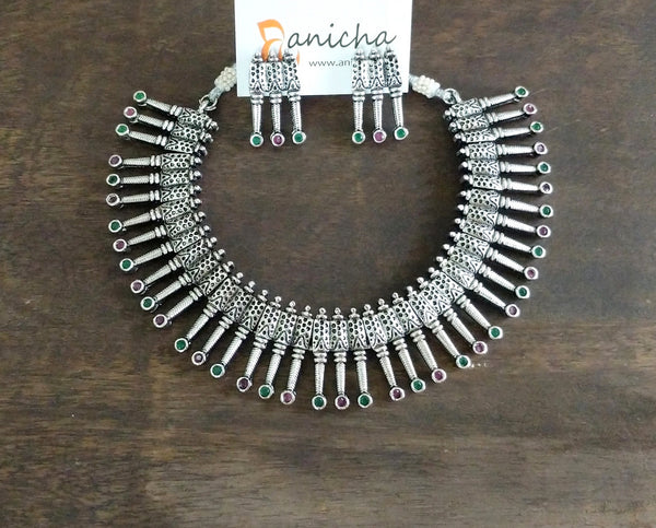 Silver spikes necklace set - Anicha