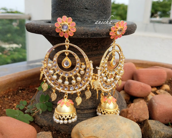 Long Kundan chand jhumkas - Anicha