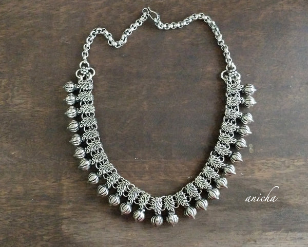 Oxidized silver peacock necklace - Anicha