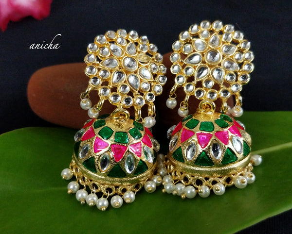 Kundan flower enamel jhumkas (Colours available) - Anicha