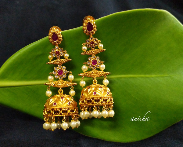 Layered gold jhumkas - Anicha